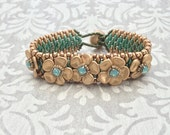 Turquoise and Gold Flower Bracelet