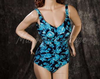 Vintage Swimsuit Maxine of Hollywood Floral Print One Piece White Turquoise Navy Size 14