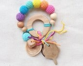 Baby teething ring spring rainbow rattle Waldorf toy with handmade animal or tree pendant - choose your own - whale, bear, tree