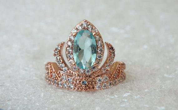 Rose Gold Elsa Princess Tiara Ring Anna Frozen Crown Crystals Aquamarine