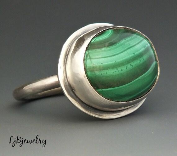 silver ring malachite ring sterling silver malachite