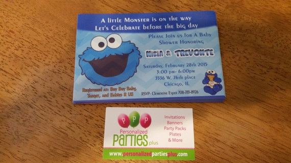 cookie monster baby shower invitation by partiesplus on etsy