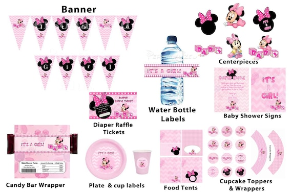 Baby Minnie Mouse baby shower package: banner, cupcake toppers, water bottle labels, plates, cups, signs, candy bar wrapper...