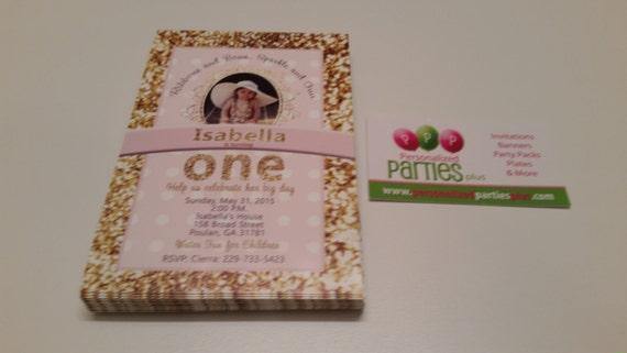 Pink and Gold birthday Invitations   first birthday invitations