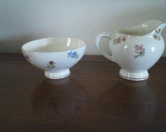 Vintage Individual Sugar and Creamer with Pink and Blue Flowers - Sugar and Creamer - Sugar Bowl With Creamer