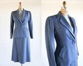 vintage 40s suit / 1940s suit / 40s women's suit / blue gabardine suit / 40s gabardine suit / 40s suit skirt and jacket / blazer and skirt