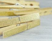 Gold Glitter CLOTHESPINS, Set of 10 Pegs, Wedding Decor , Escort Card Holders, wooden clips, Banner Holder , bohemian, festive, Christmas