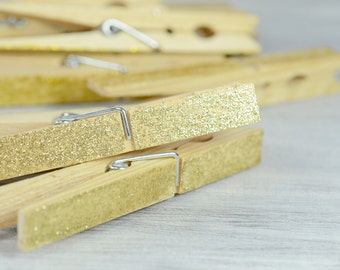 Gold Glitter CLOTHESPINS, Set of 10 Pegs, Wedding Decor , Escort Card Holders, wooden clips, Banner Holder , bohemian, festive, Christmas