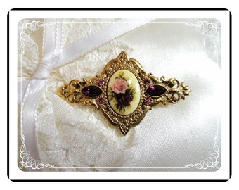 Cameo Style Brooch  - Victorian Revival Jewelry - Sweet Floral by 1928 Vintage Jewelry  Pin- 1083a-012312000