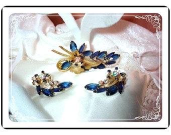 D&E Brooch and Earring Demi - Dramatic Blue - AB Rhinestone Juliana  Demi-475a-011009055