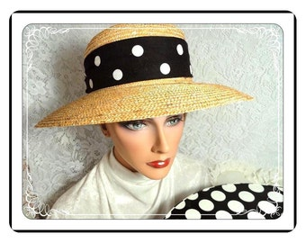 Vintage Staw Hat -Black Polka-Dot -  Big Black & White Cotton Hatband  w Box - H-22d-040113000