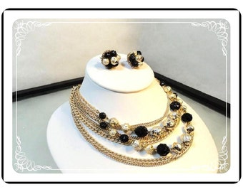 Chain Necklace & Earrings - Vintage Multi Chain Necklace and Earrings Demi Set with Black and White Beads -   Demi-2593a-030813010