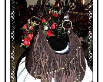 Shaggy Leather Handbag - Snazzy Brown Vintage Handbag  by Express PR-40a-071714010