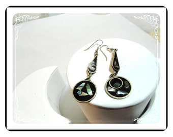 Alpaca Silver w Abalone Earrings - Dangling Pierced Earrings Teardrops & Circles   E516a-071512000