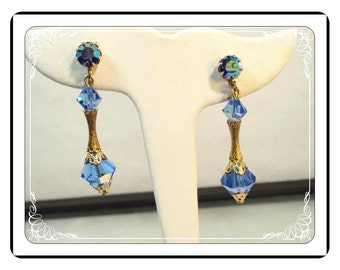 Czech Clip-on Earrings - Gorgeous  Vintage Blue Crystal Bead  E288a-030813010