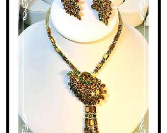Exotic Rhinestone Demi -  Necklace & Earrings w Dancing Golden Rhinestones   Demi-1142a-102212000