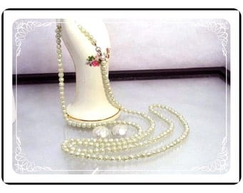Opera Length Necklace Set -  Light Green Vintage Baroque Pearlescent  Necklace & Earrings Demi-1746a-121012000