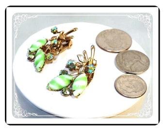 Green Striped Earrings - Vintage Flower Rhinestone Clip-on Earrings - E3329a-121012000