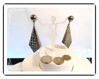 Pierced Metal Earrings -Basket Weave and Folded Hanky Pattern - Silvertone -   E642a-081412000