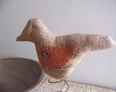 Primitive Calico Bird On A Spring Shelf Sitter Makedo