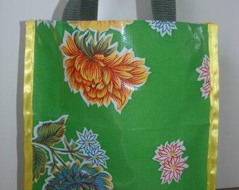 Green plastic flower bag