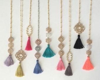 Silk Tassel Necklace // Long Colorful Tassel Necklace // Filigree Tassel Necklace // Bohemian Long Necklace // Metal Lace Tassel Necklace