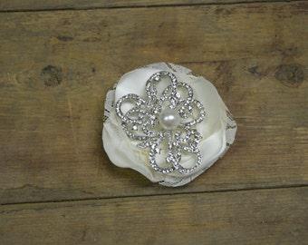 Satin bridal hair clip, bridal head piece, rhinestone and satin hair clip. Bridal wedding hair brooch flower