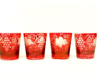 Vintage Red Etched Tumblers // Set of 4 // Grape and Vine // Italian Design // Holiday Glassware