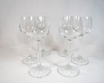 Elegant Set of Six Vintage Clear Sherry Glasses Plus Free US Shipping
