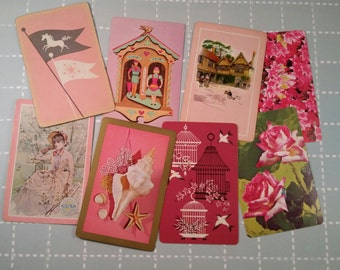 Vintage Pink Playing Cards Lot Collection