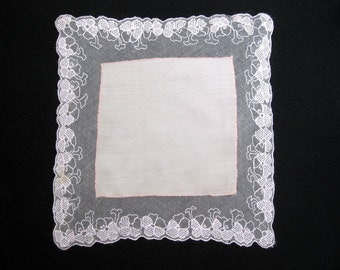 Vintage silk and lace handkerchief French decorative Wedding hanky