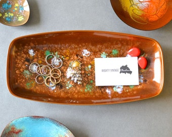 Vintage galaxy ring dish plate jewelry organizer enamel East German Fischland GDR