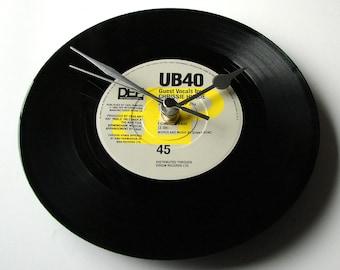 "UB40 Vinyl Record CLOCK from recycled 7"" single "" I Got You Babe"" Cool gift men women boyfriend girlfriend black grey yellow ska mod reggae"