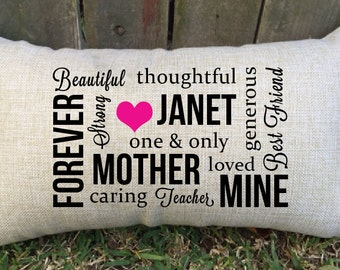 BEAUTIFUL Pillow for mum/mom/mother - customised just for you. Perfect gift for birthday, mother's day, thank you gift, mother of the bride