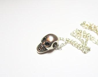 Tiny   gold  Skull charm-skull necklace,Antique Silver Skull Charm , bonus here-   gyspy boho chic bohemian steampunk