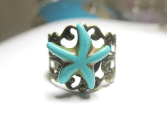 sale Starfish ring Blue Turquoise  Earrings -Starfish stud -Turquoise jewelry- Bridesmaid gift, Sea star necklace