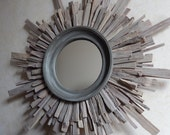 "27"" Sun-Bleached Gray Stained Starburst Mirror, Costal Wall Art, Starburst Sunburst MADE to ORDER"