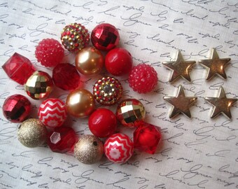 Red and Gold Necklace Kit, Gumball Bead Kit, Bling Beads, Holiday Necklace, Bubblegum Necklace Kit, Red, Green, Gold Beads, DIY Necklaces