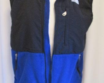 vintage, TNF  North face two tone fleece vest black blue sleeveless full zip womens size M