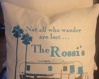 """Camper Trailer Pillow Cover - Embroidered & Personalized """"Not all who wander are lost"""" Retro Airstream Trailer w/ Palm Trees Home Decor"""