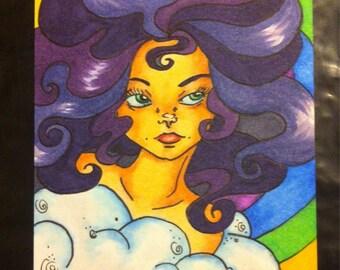 Rainbow Lover original art ACEO card