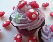 Royal icing toadstools -- Handmade cupcake toppers cake decorations edible (24 pieces)
