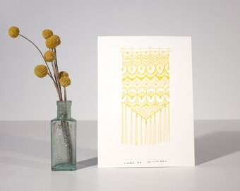 Summer Sun, letterpress, art, print, macrame, yellow, happy, sunny, marigold