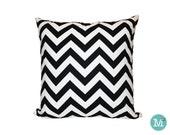 Black & White Chevron Pillow Cover Sham - 18 x 18, 20 x 20 and More Sizes - Zipper Closure - sc1820