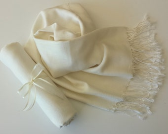 IVORY ( soft cream) PASHMINA SHAWL. Ivory Shawl. Bridesmaid gifts. Bridesmaid shawls. Pashmina Scarf. Wedding favor.
