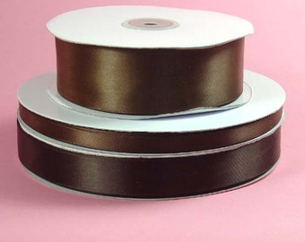 Double Face Satin Ribbon- Brown - 5 Yards