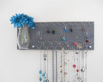 Jewelry Board Organizer, Earring and Necklace Holder Woman's Wall Rack with Glass Vase, Grey - MADE TO ORDER Choose your Color