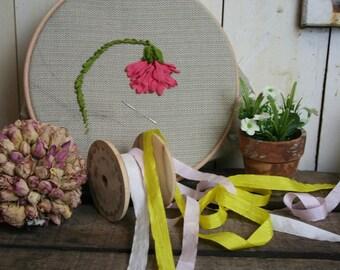 10mm Faux Silk Ribbon, Ribbon Embroidery, Thin ribbon Trim, 3 Metres, Craft, Wedding, 3 colours
