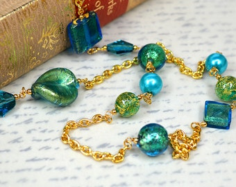 Murano glass necklace Venetian glass necklace Long gold chain necklace Teal glass beaded chain Venetian jewelry Summer fashion jewelry