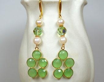 Green chalcedony earrings Big earring Dangle earring Gold bezel gemstone cluster Chandelier earring Semi precious gemstone earring jewelry